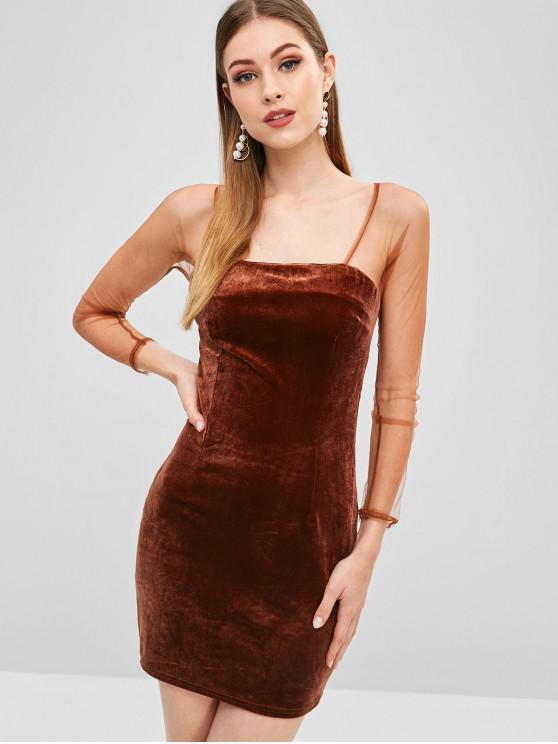 b0f1e3292e 50% OFF  2019 Mini Velvet Mesh Bodycon Dress In BROWN BEAR