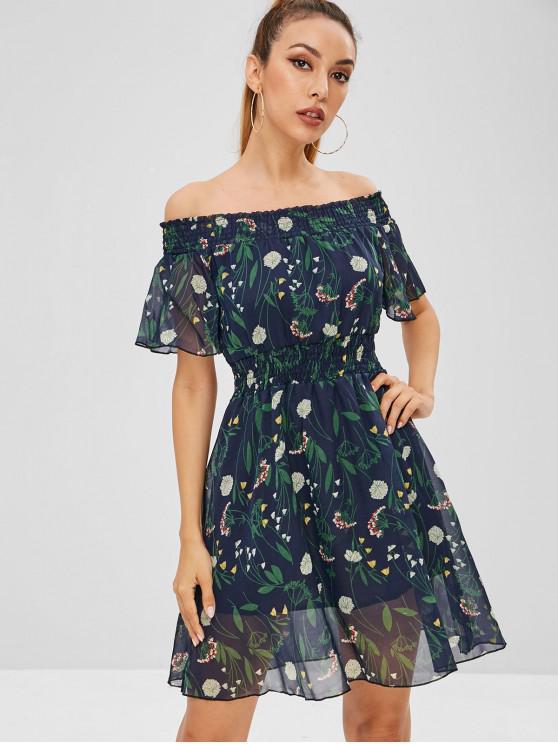 online Mini Chiffon Off Shoulder Floral Dress - MIDNIGHT BLUE L