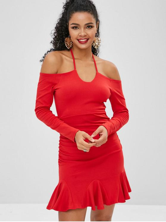 chic Off Shoulder Halter Short Mermaid Dress - LAVA RED M