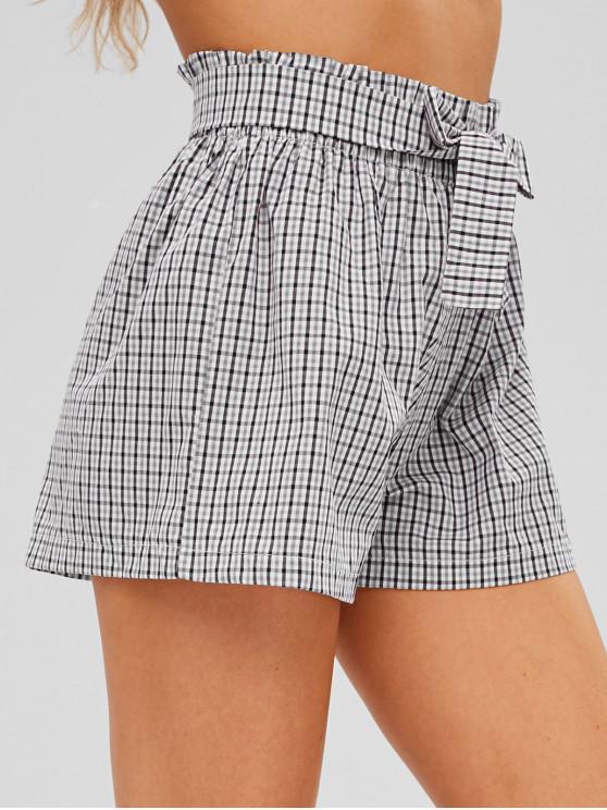 ladies Checkered Tie Waist High Waisted Shorts - MULTI S