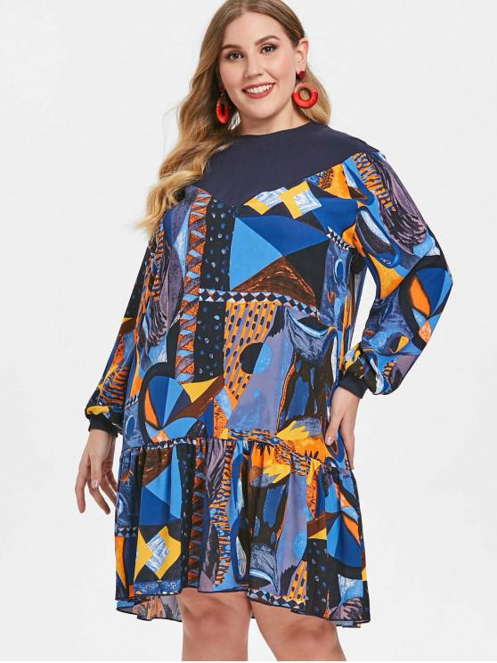 buy Printed Plus Size Drop Waist Dress - MULTI ONE SIZE
