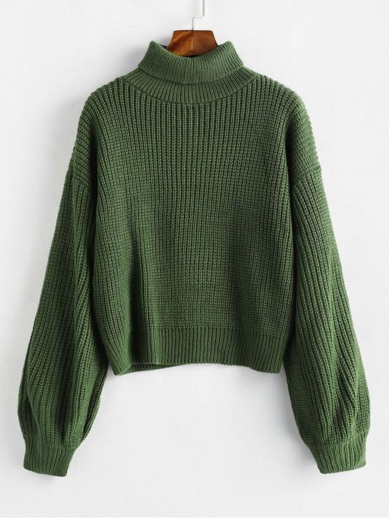 outfits Turtleneck Lantern Sleeves Chunky Sweater - GREEN ONE SIZE