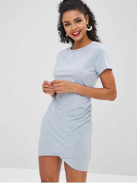 Rohes, figurbetontes Kleid mit gerafftem Saum - Himmelblau S