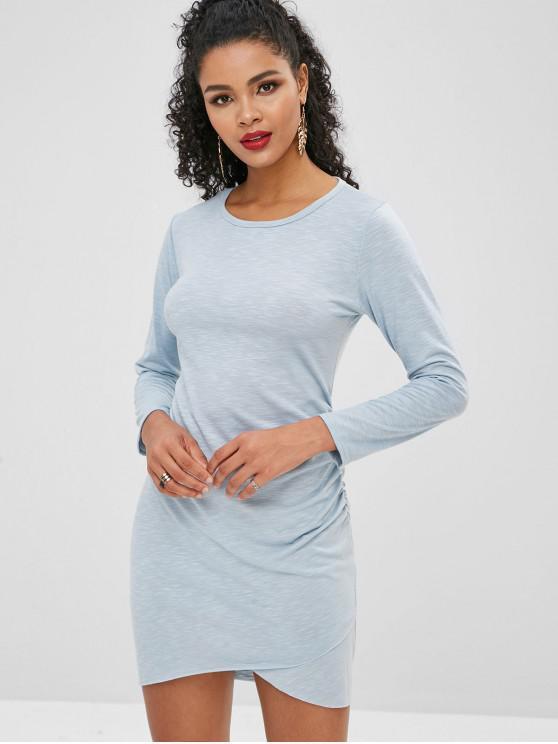 Vestido Cinched Raw Bodycon - Céu Azul L
