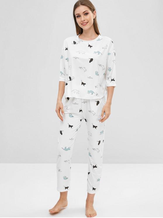 Ensemble de Pyjama Chat Imprimé à Goutte Epaule - Blanc XL
