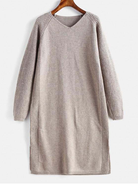 fd9a3962c24 51% OFF  2019 Slit V Neck Shift Sweater Dress In LIGHT KHAKI