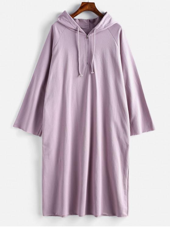 lady Half Zip Loose Hoodie Dress - WISTERIA PURPLE ONE SIZE