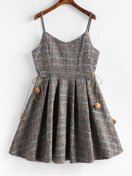affordable Pompom A Line Plaid Cami Dress - MULTI-A M