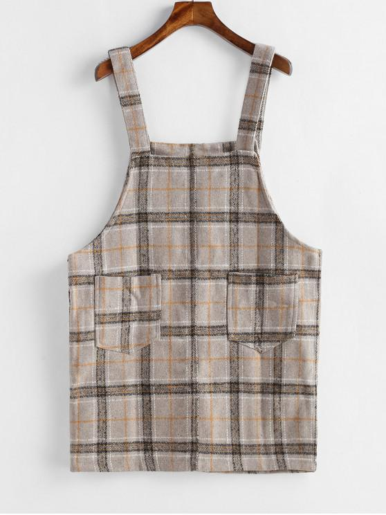 online Mini Plaid Pinafore Dress with Pocket - TAN ONE SIZE
