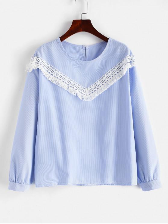online Lace Trim Striped Blouse - MULTI L
