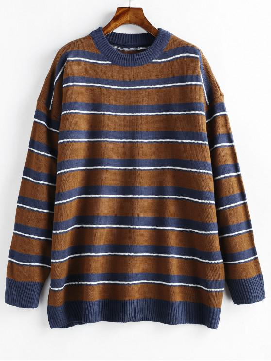 unique Tunic Oversized Striped Knit Sweater - BROWN BEAR