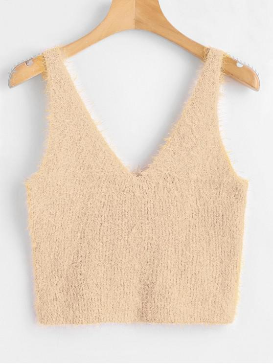 trendy Vest Textured V Neck Sweater - APRICOT M