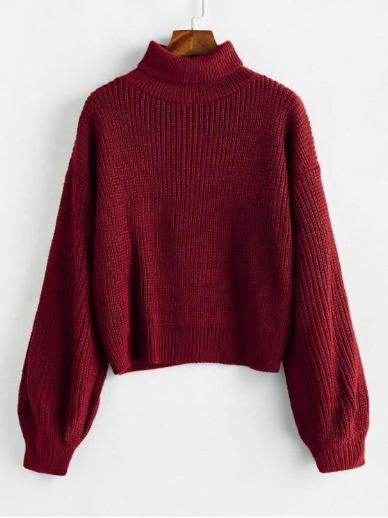 online Turtleneck Lantern Sleeves Chunky Sweater - RED WINE ONE SIZE
