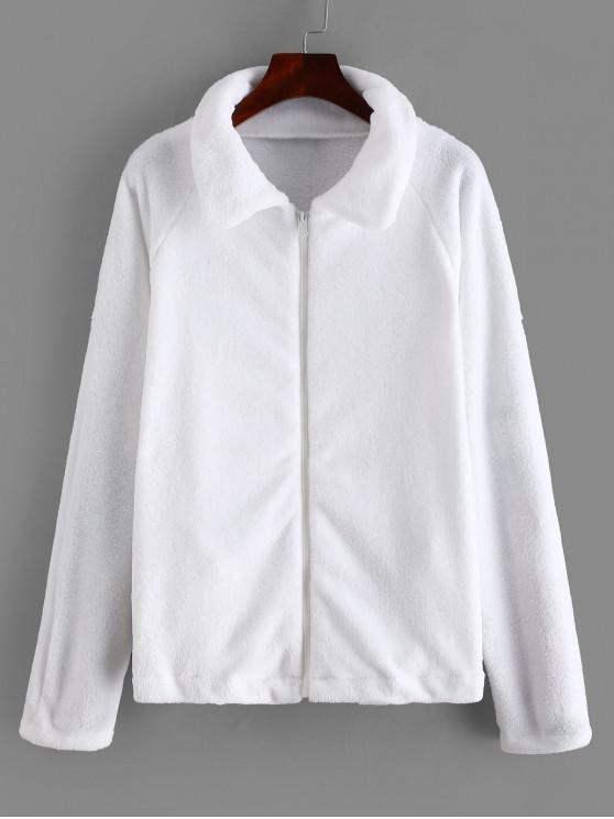 new Zipper Raglan Sleeve Fluffy Jacket - WHITE M