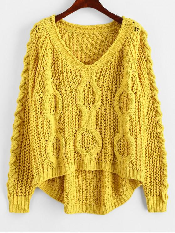 outfits Lace-up Openwork Oversized Sweater - YELLOW ONE SIZE