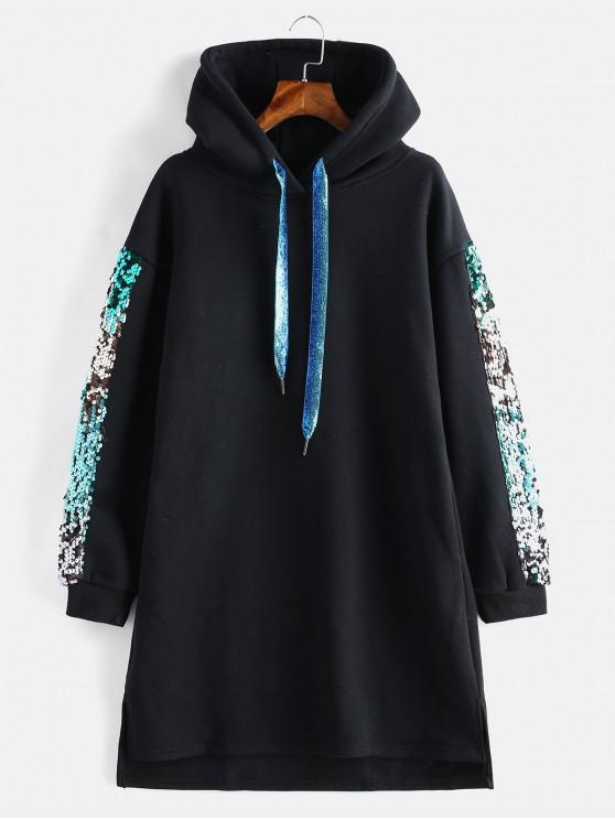 fancy Fleece Sequined Glitter Slit Hoodie Dress - BLACK M