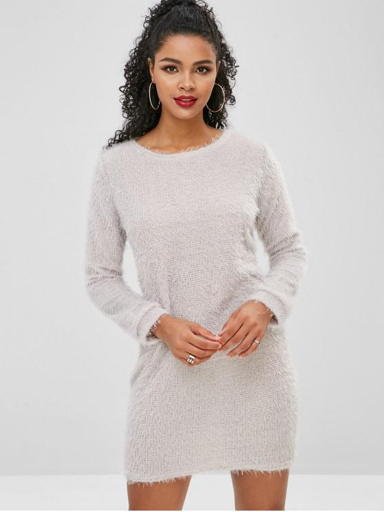 womens Fluffy Textured Mini Dress - LIGHT GRAY S