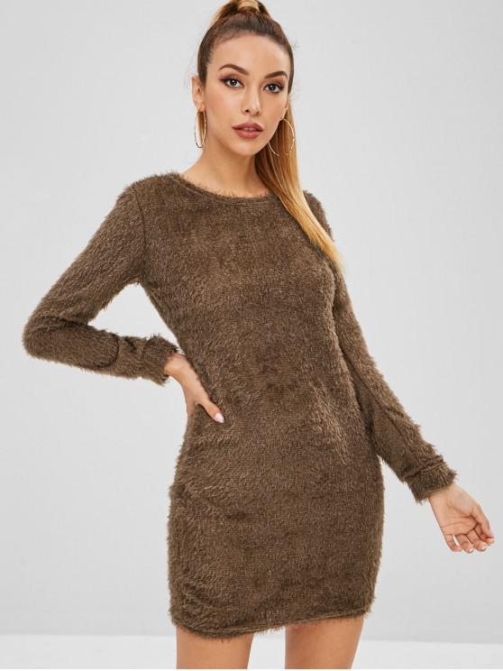 chic Fluffy Textured Mini Dress - DEEP BROWN L