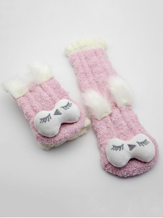women's Coral Fleece Owl Design House Socks - PINK