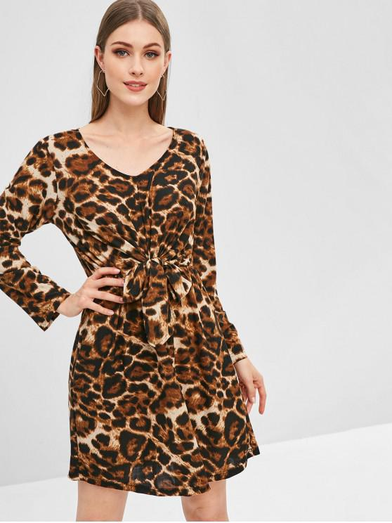 women's Leopard Print Tie Knot Long Sleeve Dress - LEOPARD M