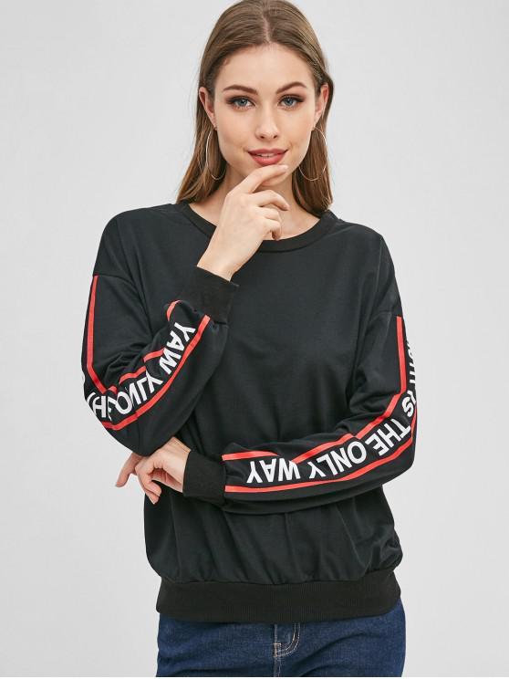Sweat-shirt Athlétique à Manches Graphiques - Noir M