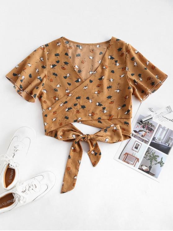 Blusa corta floral con manga de flutter - Sandy Brown M