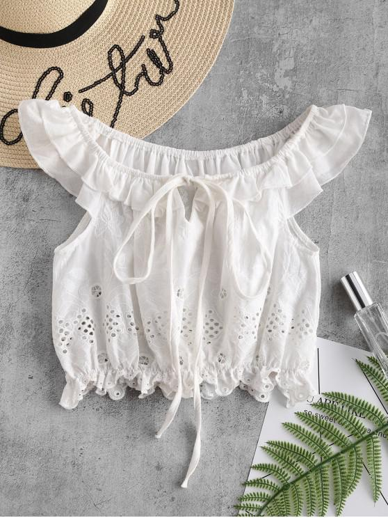 6d62d4e2c5eff 42% OFF  2019 Anglaise Broderie Romantic Crop Top In WHITE