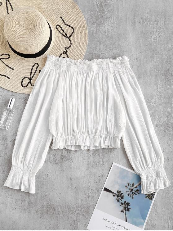 Crop Top Frilled - Blanco S