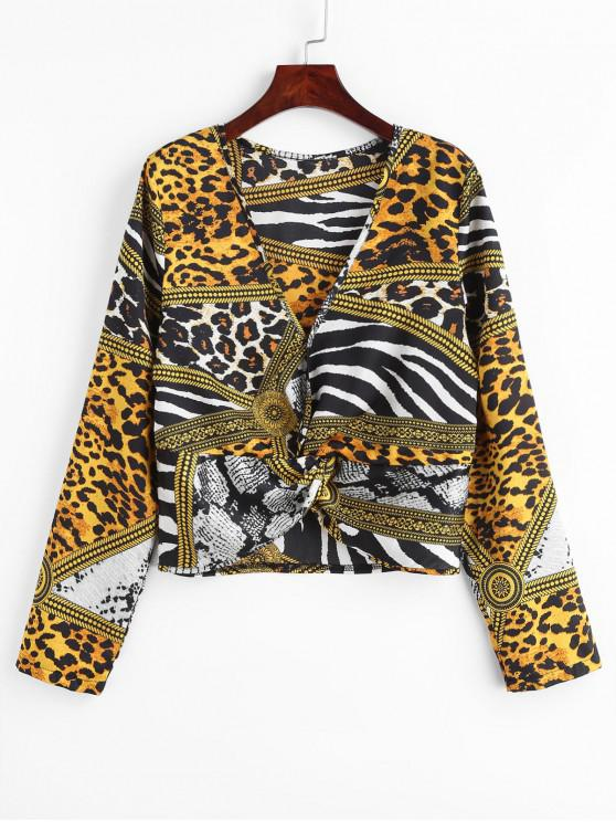 01c8605cf9fd 26% OFF] 2019 ZAFUL Leopard Snake Print Twist Top In LEOPARD | ZAFUL