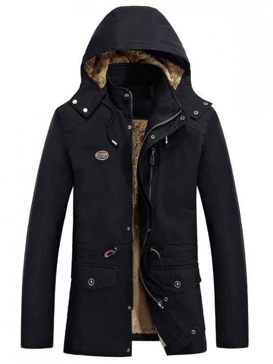 hot Waist Drawstring Faux Fur Lined Jacket - BLACK XS