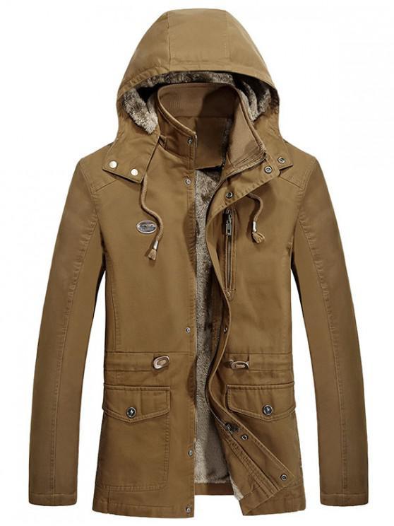 fancy Waist Drawstring Faux Fur Lined Jacket - WOOD M