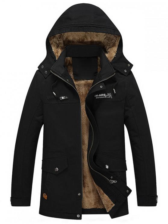 affordable Pockets Faux Fur Lined Jacket - BLACK S