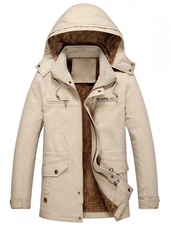 women Pockets Faux Fur Lined Jacket - KHAKI XS