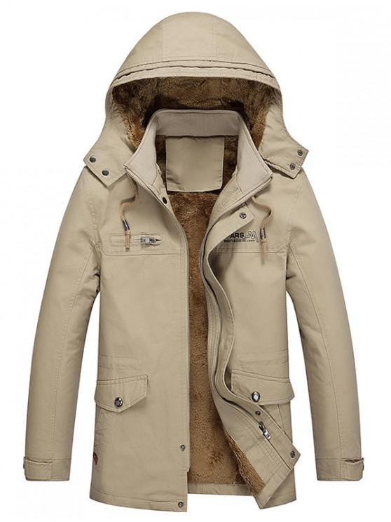 online Pockets Faux Fur Lined Jacket - DARK KHAKI S