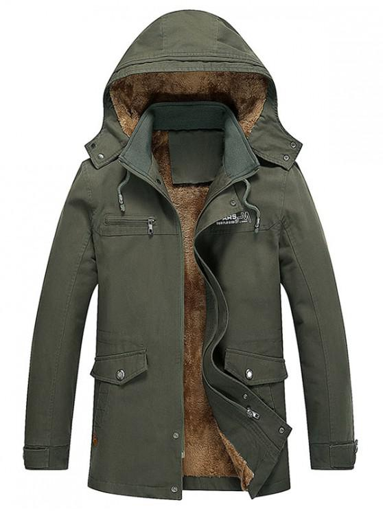 outfit Pockets Faux Fur Lined Jacket - ARMY GREEN XS