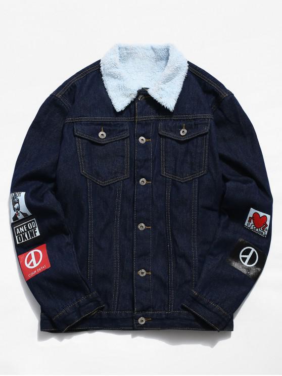 fashion Printed Faux Fur Lined Denim Jacket - MIDNIGHT BLUE XS