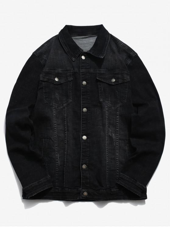 trendy Front Pocket Button Up Denim Jacket - BLACK XS
