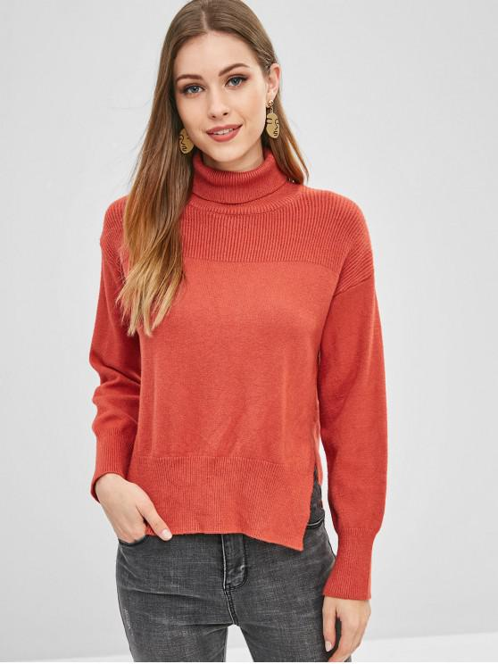 fashion Side Slit Turtleneck Sweater - BEAN RED ONE SIZE
