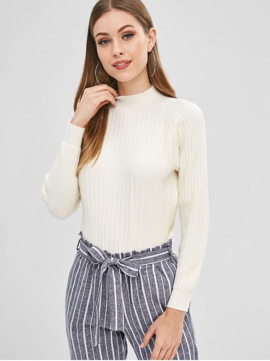 chic Raglan Sleeve Mock Neck Sweater - WARM WHITE ONE SIZE