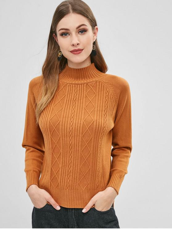 ladies High Neck Slit Cable Knit Sweater - LIGHT BROWN ONE SIZE