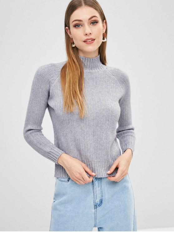 outfits Raglan Sleeve Mock Neck Sweater - GRAY ONE SIZE