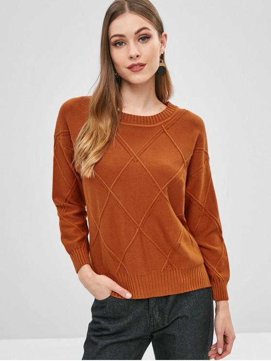 Jersey con cuello redondo de calado calado - Naranja Talla única