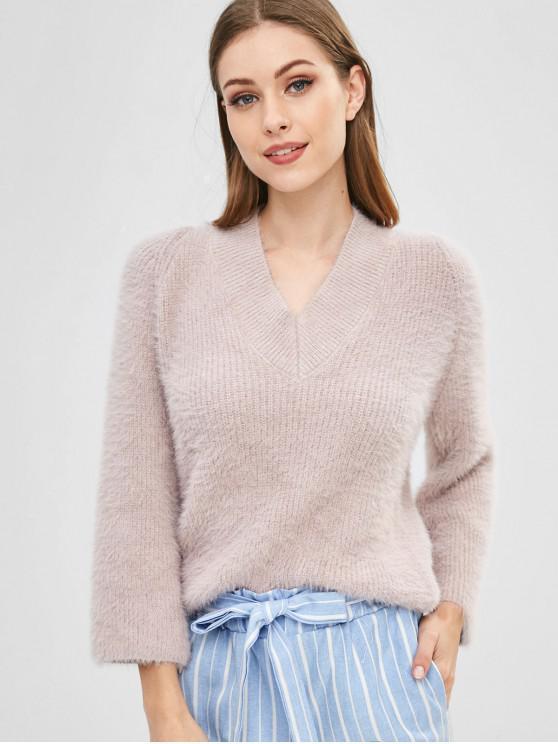 Suéter Mullido Con Cuello En V - Rosa Sakura  Talla única