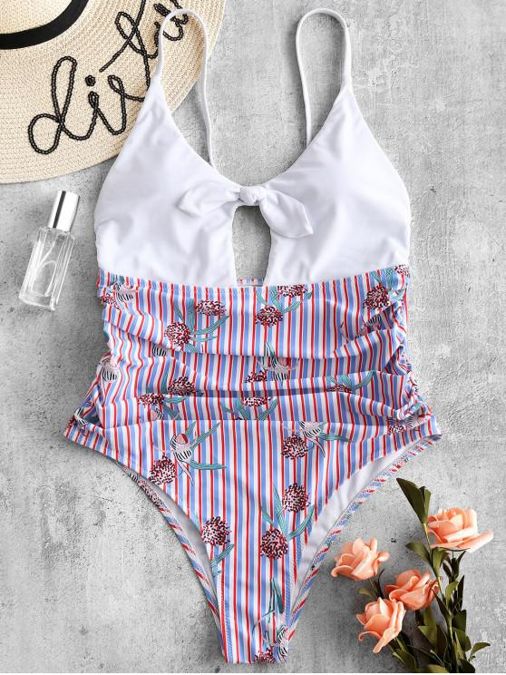new ZAFUL Bowknot Printed Ruched Striped Swimsuit - MULTI-A L