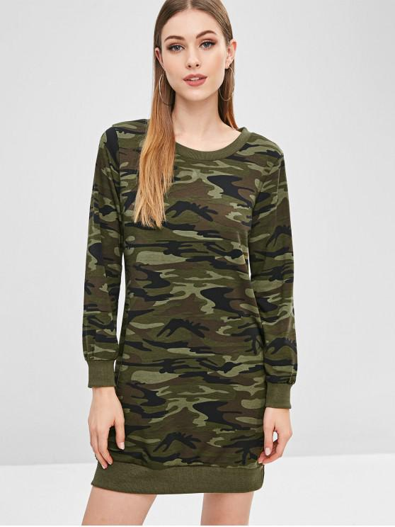 trendy Camo Sweatshirt Dress - ACU CAMOUFLAGE S