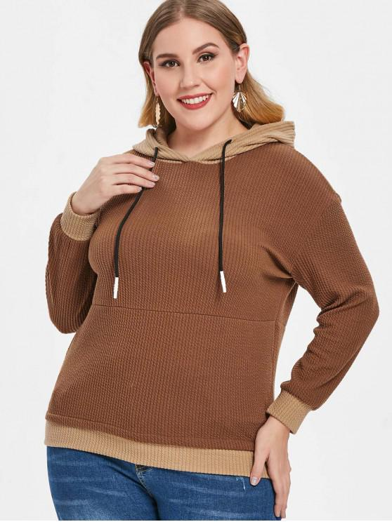 affordable Plus Size Cable Ribbed Hoodie - CAMEL BROWN 5X