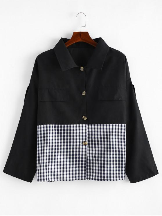 lady Button Down Gingham Plus Size Shirt - BLACK 3X