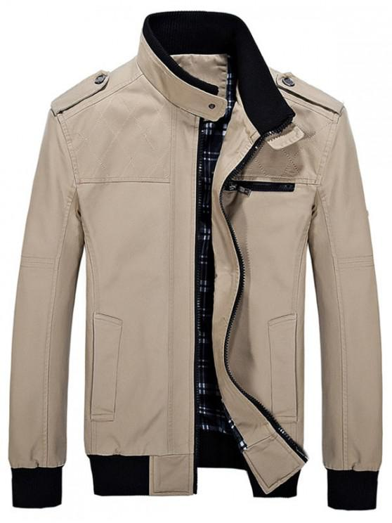 lady Stand Collar Pockets Casual Jacket - KHAKI XS