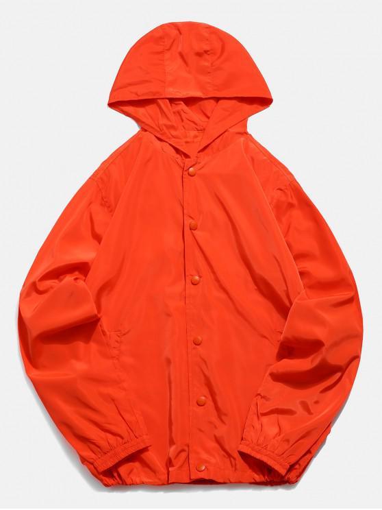 shop Solid Snap Button Windbreaker Jacket - ORANGE M