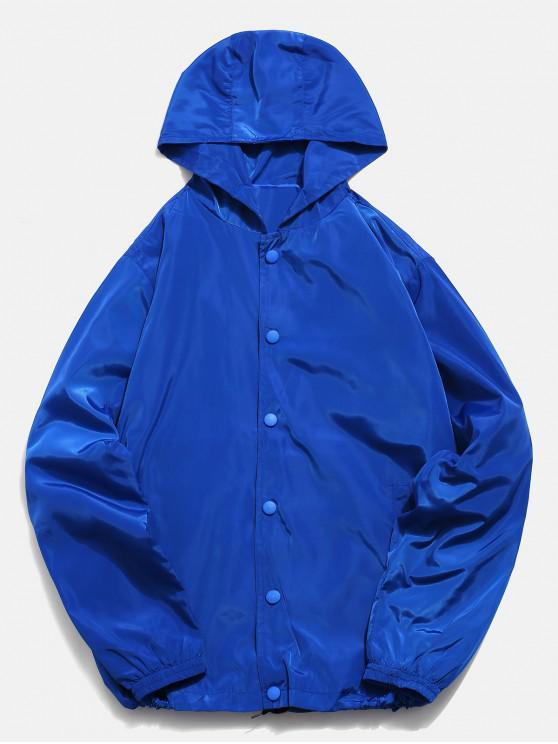 lady Solid Snap Button Windbreaker Jacket - BLUE 3XL
